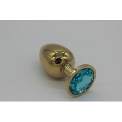 Złoty korek analny z błękitnym kryształem rozmiar M