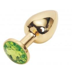 Złoty korek analny z zielonym kryształem rozmiar M