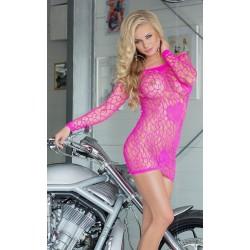 Sukienka mini z długim rękawem - Sweetheart - Neon Pink