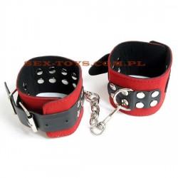 Kajdanki na ręce czerwono - czarne z nitami