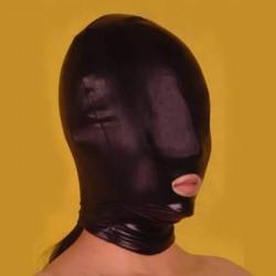 Czarna maska BDSM z otworem na usta